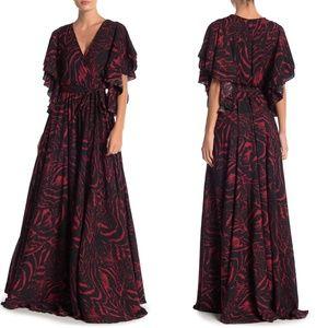 MEGHAN LA Flutter Sleeve Maxi Dress